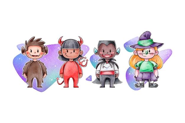 Collection d'enfants aquarelle halloween