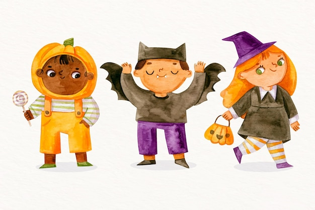 Collection d'enfants aquarelle halloween