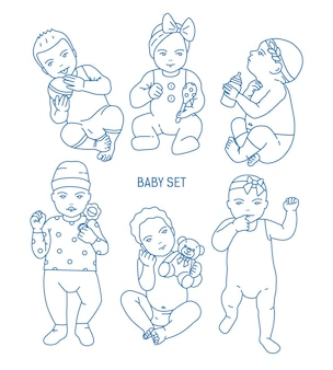 Collection d'enfants en bas âge ou de bébés vêtus de divers vêtements et tenant des jouets et des hochets. ensemble de tout-petits dans différentes postures dessinées dans le style d'art en ligne. illustration vectorielle monochrome.