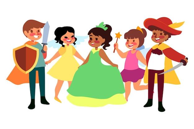 Collection d'enfants de carnaval de dessin animé