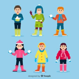 Collection d'enfants colorés d'hiver