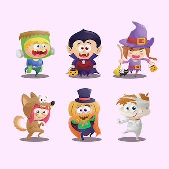 Collection d & # 39; enfants avec des costumes d & # 39; halloween