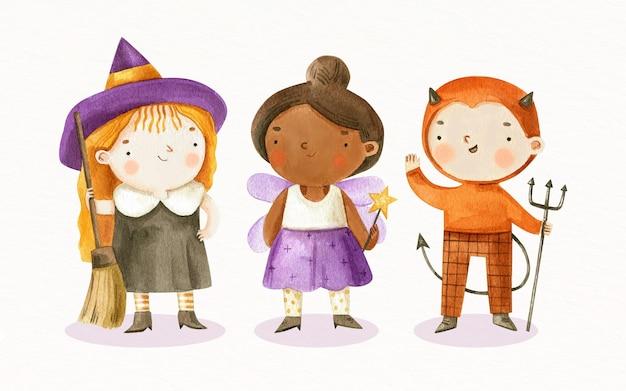 Collection d'enfants halloween aquarelle