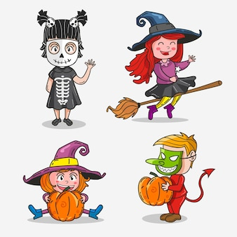 Collection d'enfants d'halloween dessinés à la main