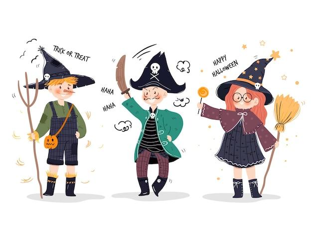 Collection d'enfants d'halloween dessinés à la main
