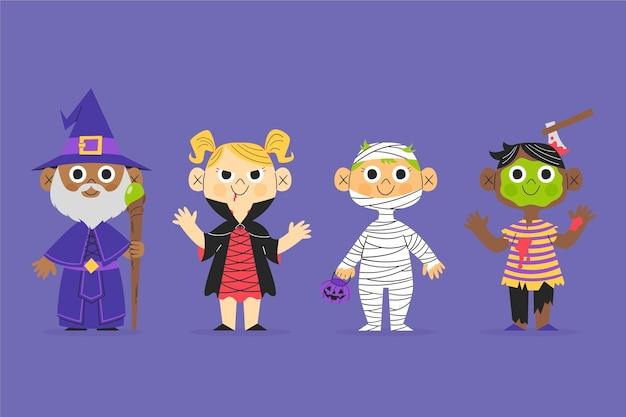 Collection d'enfants halloween dessinés à la main