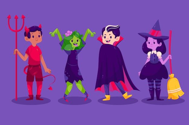 Collection d'enfants halloween plats en costumes