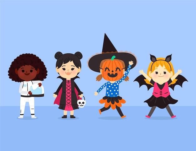 Collection d'enfants halloween plats dessinés à la main