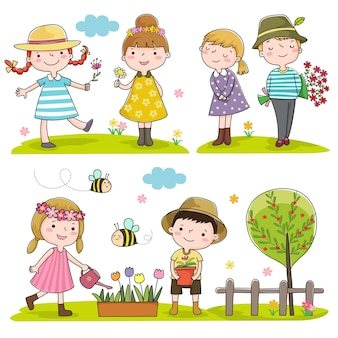 Collection d'enfants heureux en plein air au printemps