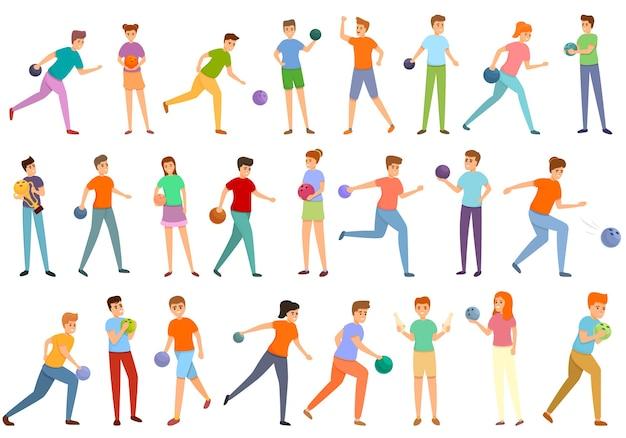 Collection d & # 39; enfants jouant aux icônes de bowling