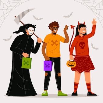 Collection d'enfants plat d'halloween