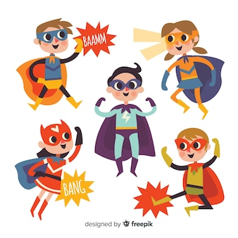 Collection d'enfants super-héros