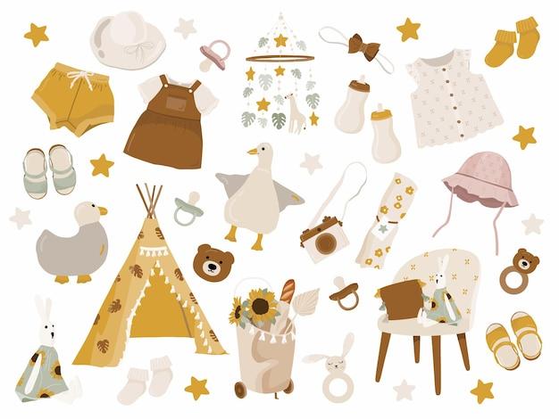 Collection enfants avec des vêtements, des jouets et des éléments de décoration