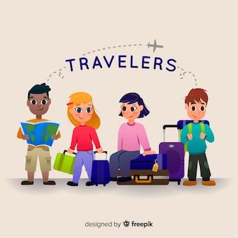 Collection enfants voyageur dessinés à la main