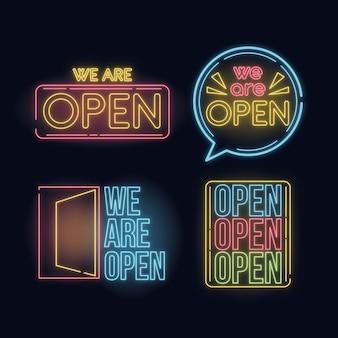 Collection d'enseigne au néon avec nous sommes ouverts