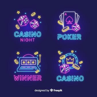 Collection d'enseignes au néon de casino réaliste