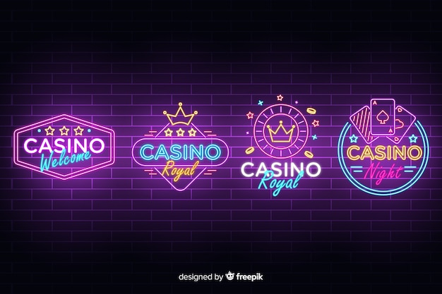 Collection d'enseignes au néon de casino réaliste