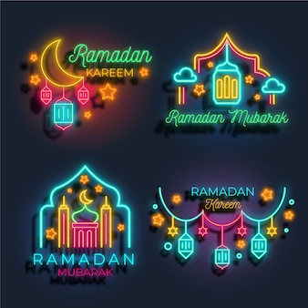 Collection d'enseignes au néon du ramadan