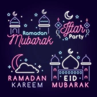 Collection d'enseignes au néon du ramadan