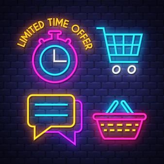 Collection d'enseignes au néon pour le commerce électronique