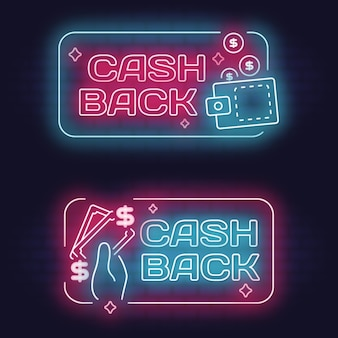 Collection d'enseignes de cashback au néon