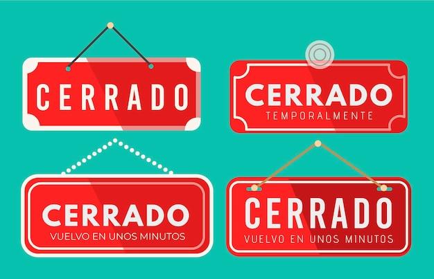 Collection d'enseignes cerrado design plat