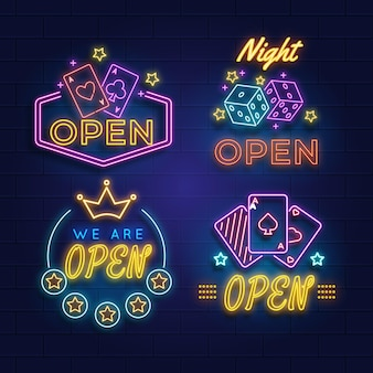 Collection d'enseignes de pub ou de restaurant au néon