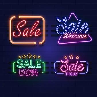 Collection d'enseignes de vente au néon