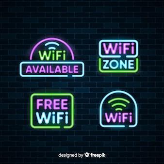 Collection de enseignes wifi gratuite au néon