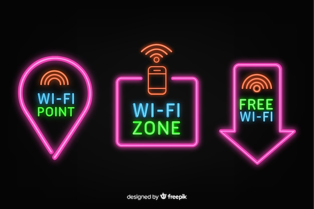 Collection de enseignes wifi gratuite au néon