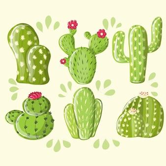 Collection ensemble de cactus de plantes du désert. différents cactus succulentes épines épineuses