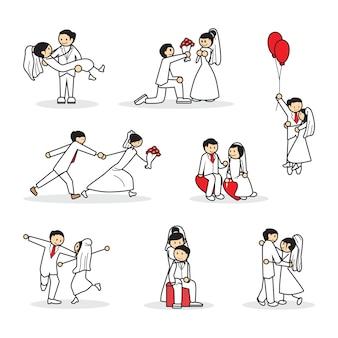 Collection ensemble de couple de mariage mignon