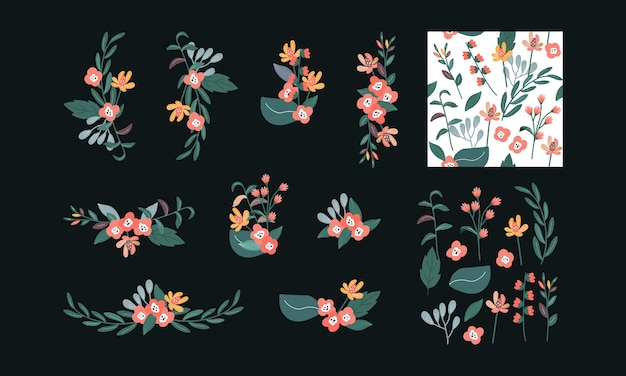 Collection ensemble de couronne florale