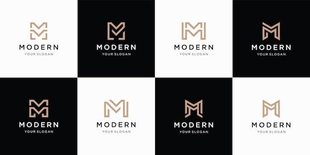 Collection de l'ensemble de la lettre initiale m monogramme