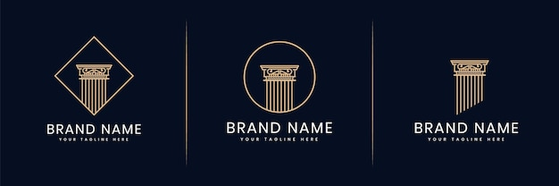 Collection ou ensemble de piliers du logo de la justice pour avocat cabinet d'avocats avocats architecte du bâtiment