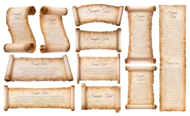Collection ensemble vieux papier parchemin feuille de défilement vintage vieilli ou texture isolée