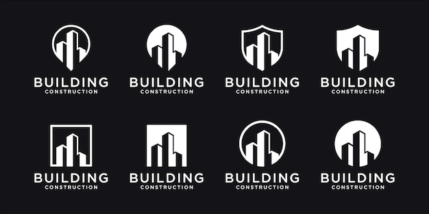 Collection d'ensembles de construction, symboles de conception de logo immobilier
