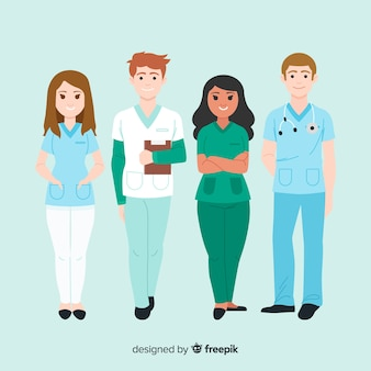 Collection de l'équipe d'infirmière dessinés à la main