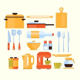 Collection d'équipement de cuisine d'icônes