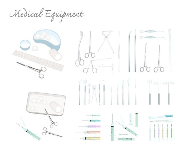Collection d'équipements médicaux sur fond blanc