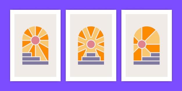 Collection d'escaliers géométriques abstraits boho et illustration de l'affiche du soleil