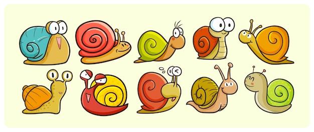Collection d'escargots drôles dans un style kawaii doodle