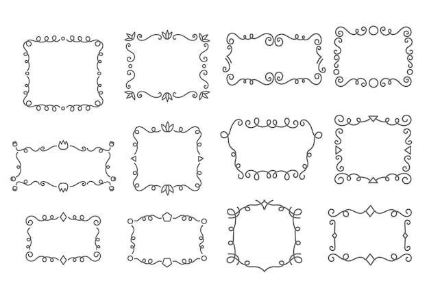 Collection d'espace de copie de lignes ornementales ondulées