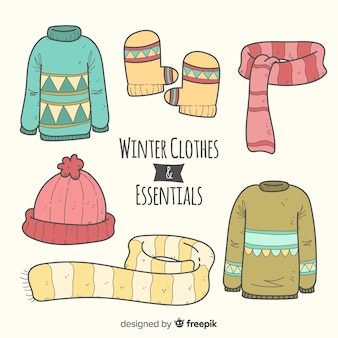 Collection d'essentiels d'hiver dessinés à la main