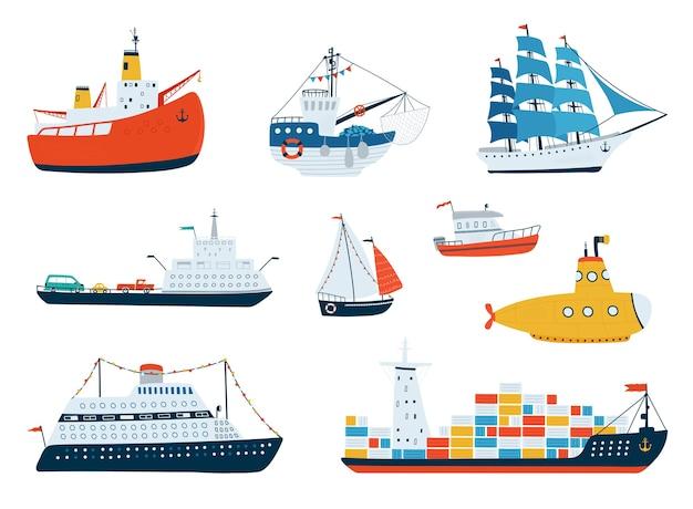 La collection est livrée dans un style plat. transport par eau, voilier, sous-marin, brise-glace, bateau de pêche