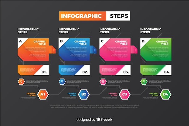 Collection d'étapes d'infographie colorée