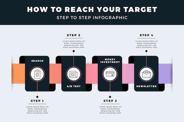 Collection d'étapes infographiques créatives