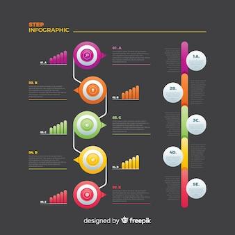 Collection d'étapes infographiques plat coloré