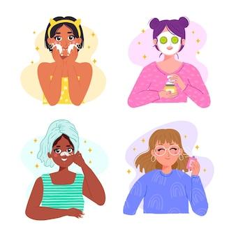 Collection d'étapes pour la routine de soins de la peau femme