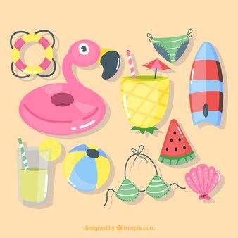 Collection d'été avec des éléments dans un style dessiné à la main